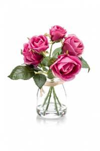 Bilde av Kunstig Rosebukett Rosa i Glass 18cm